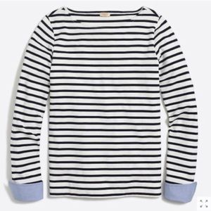 J. Crew Cuffed striped boatneck shirt small